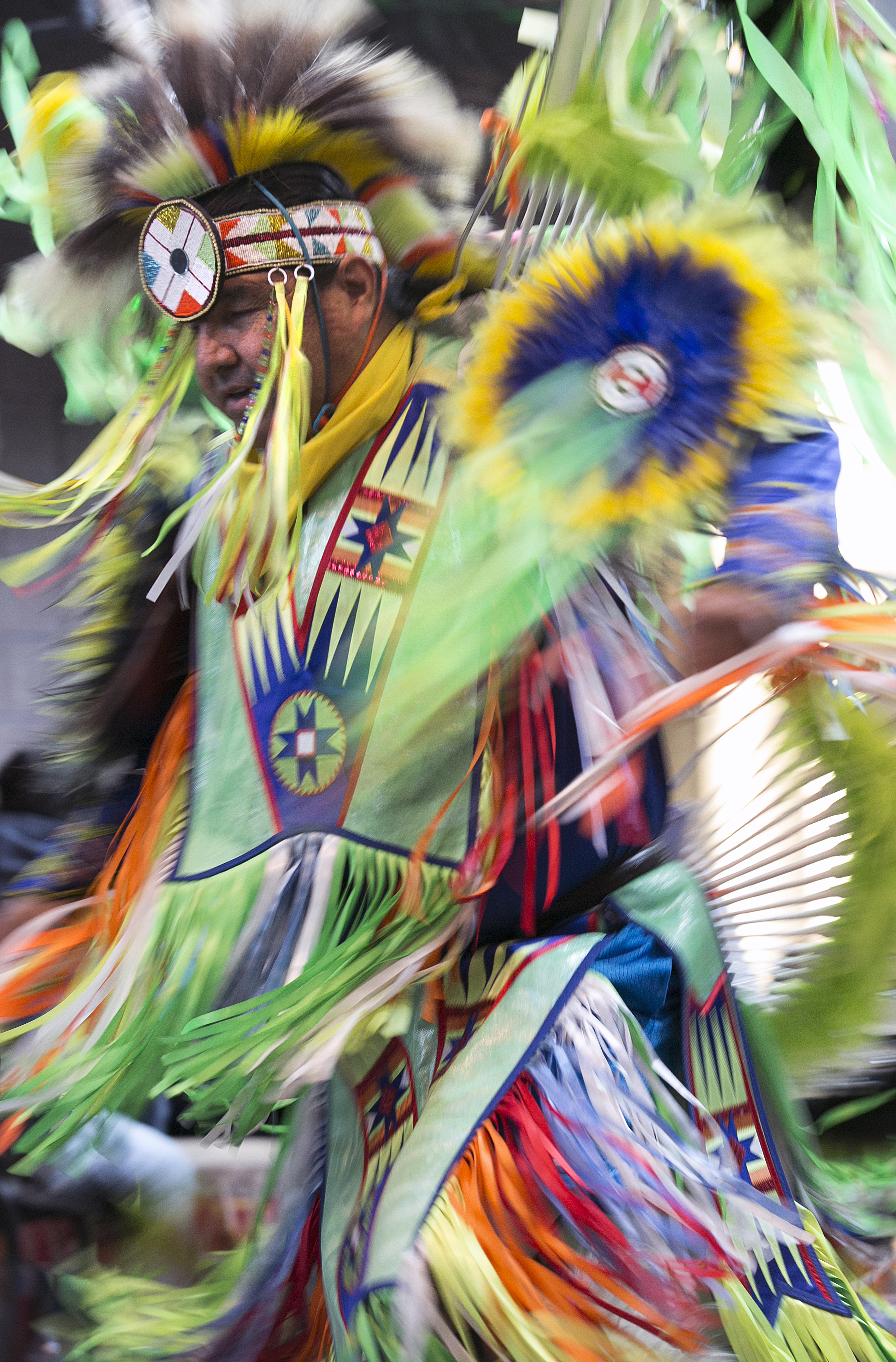 Head man dancer Brad Bearsheart of Monument leads a grass dance Saturday, April 2 at the CC March Pow wow where intertribal dances were performed for visitors to the 2017 CC Native American Exhibition Powwow.