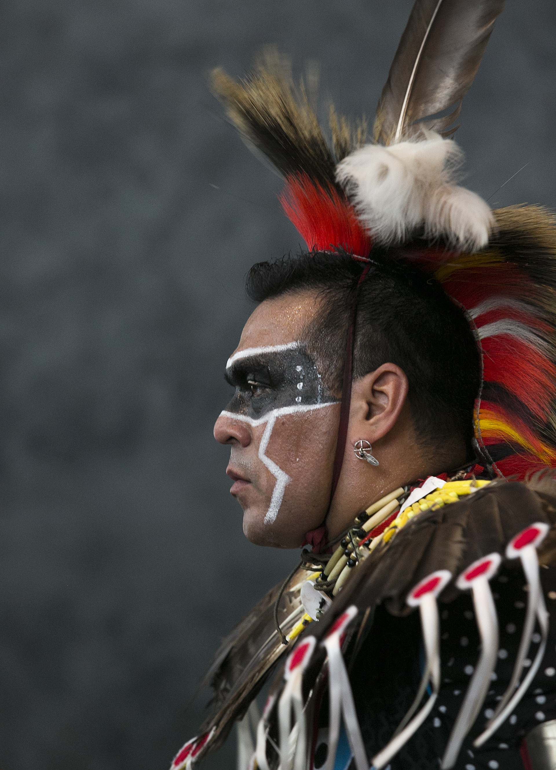 Raul Figueroa participates in an intertribal dance Saturday, April 2 at the CC March Pow wow where intertribal dances were performed for visitors to the 2017 CC Native American Exhibition Powwow.