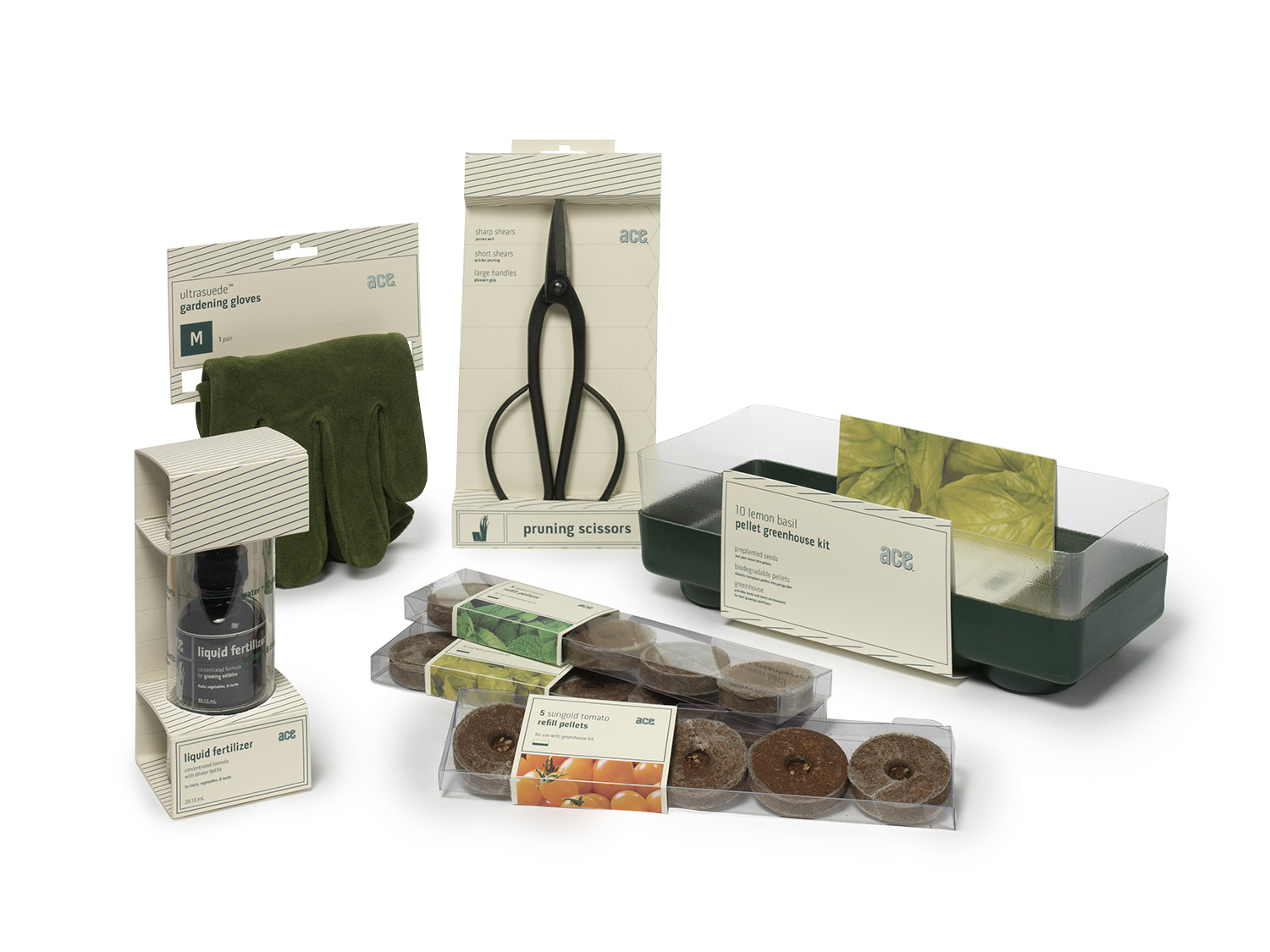 Paper packaging made of TerraSkin, a strong but degradable paper made of minerals + uses 20% less ink than standard processes. Packages have perforated strips that can be repurposed as plant markers.