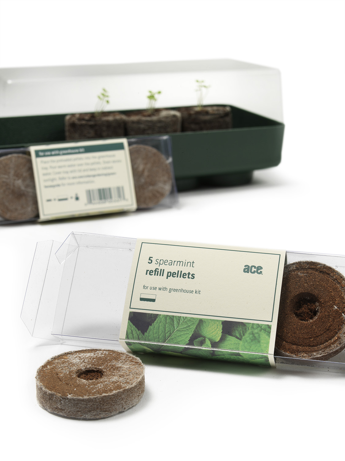 Greenhouse kit comes with soil pellets preloaded with seeds, perfect for growing seedlings anywhere there's a little sun (like the kitchen counter!).
