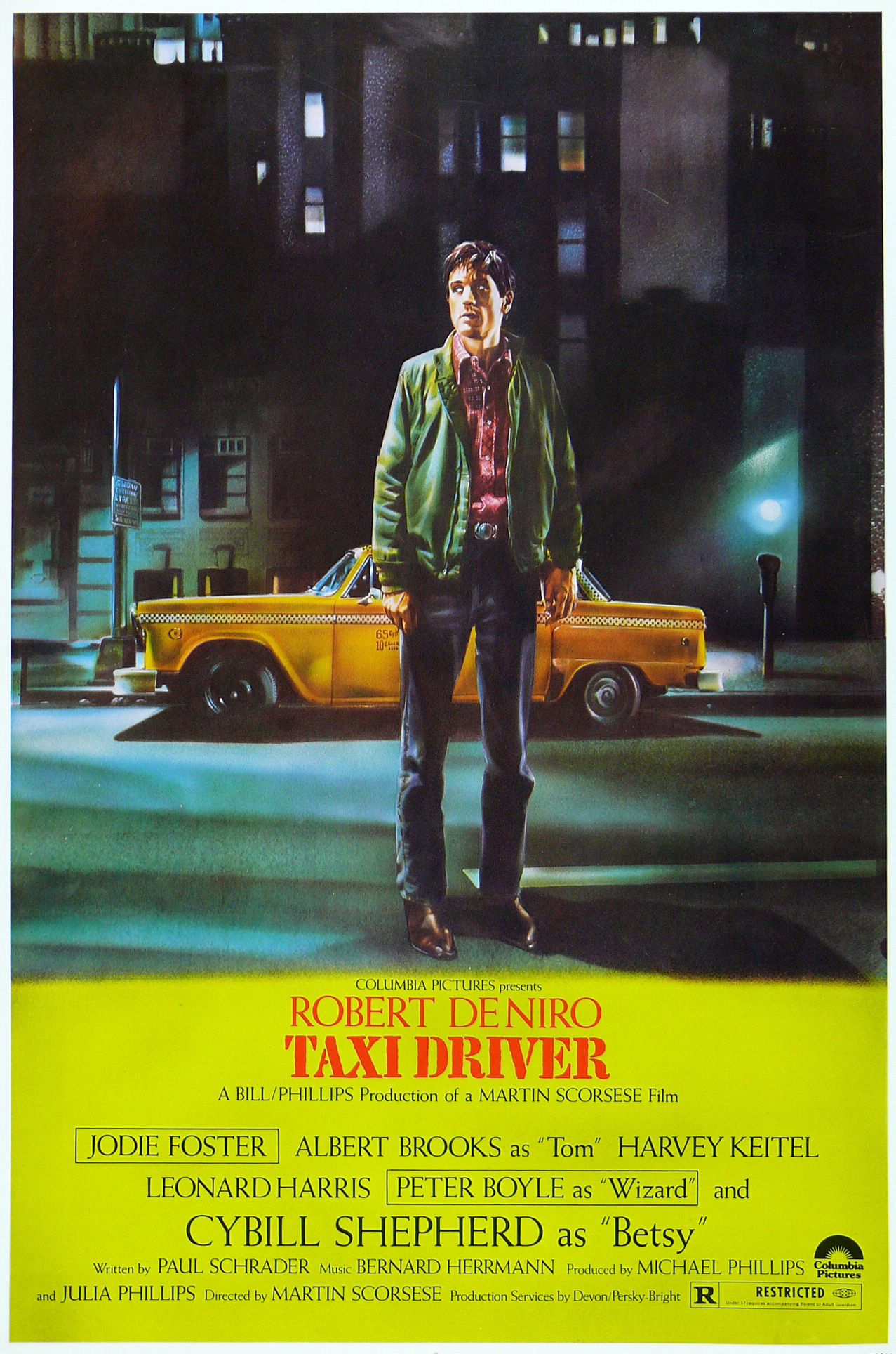 In 1976, fresh off the success of  Rock Dreams  and several high-profile rock collaborations, Peellaert was commissioned by director Martin Scorsese to create the poster artwork for  Taxi Driver.  The artist produced an indelible image of the once-gritty Manhattan streets ,  rife with a palpable sense of danger and social unrest, in which he superimposed his own body onto a portrait of Robert de Niro.