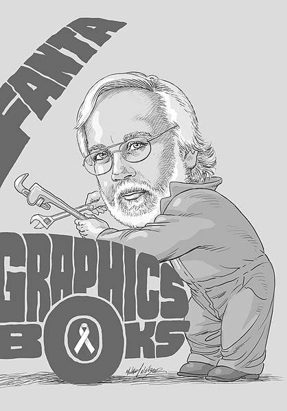 Fantagraphics co-publisher Kim Thompson. Artwork by Michael Netzer.