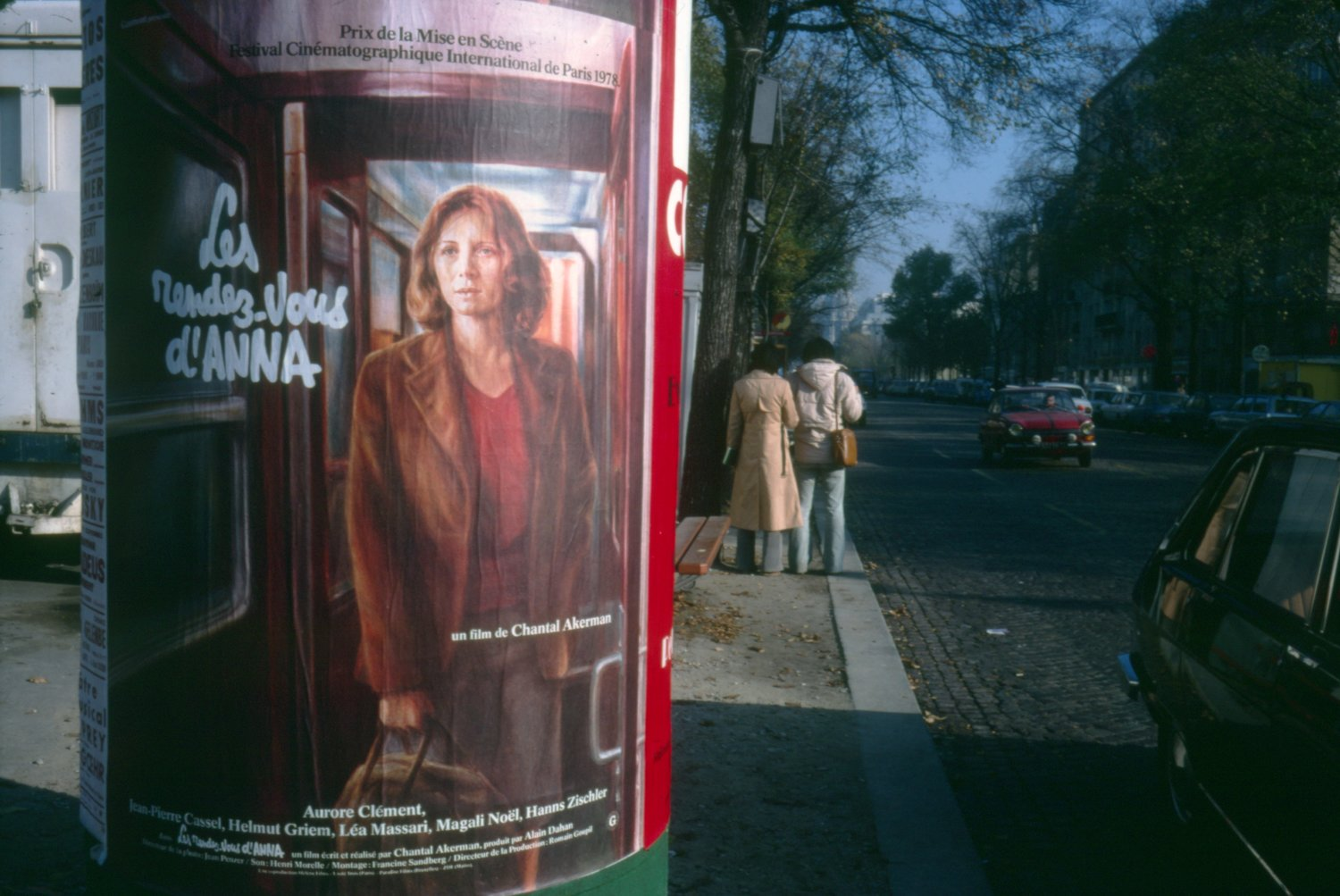 Guy Peellaert's film poster for Chantal Akerman's Les rendez-vous d'Anna, as it appeared in the streets of Paris in 1978.