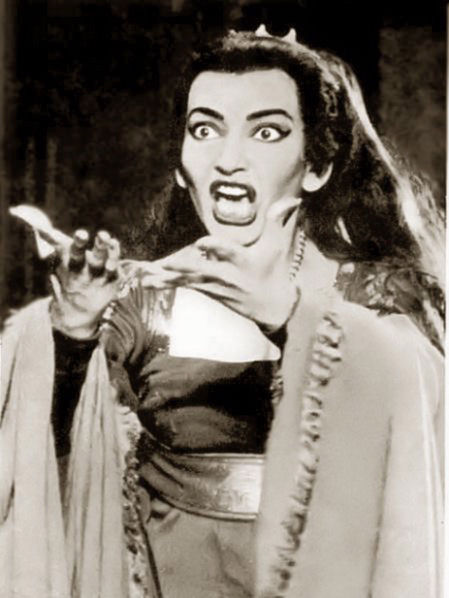 Maria Callas as Medea in the original photograph of 1958