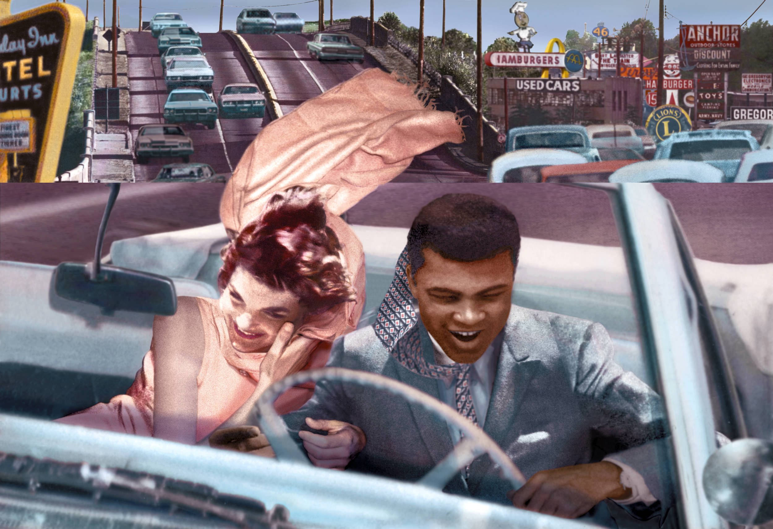 Jacqueline Kennedy and Muhammad Ali as depicted by Guy Peellaert in  Freeway , from the  Twentieth Century Dreams  series (1995-1999).