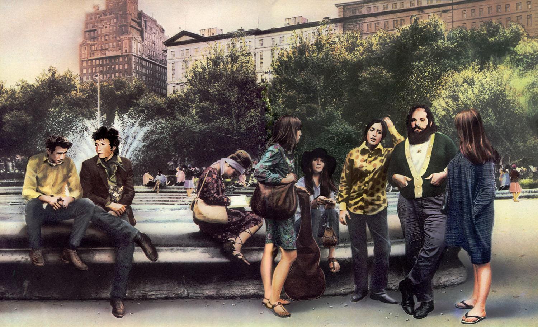 Guy Peellaert.    Robert Zimmerman, His Journeys and Adventures : New York Bob  (Phil Ochs, Bob Dylan, Judy Collins, Joan Baez, Allen Ginsberg)   from  Rock Dreams (1970-1973).