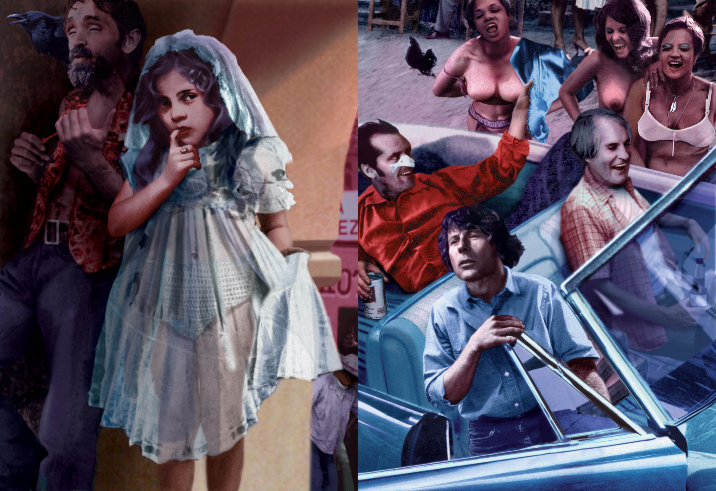 Guy Peellaert.  Tijuana  (Charles Manson, Jack Nicholson, Roman Polanski, Timothy Leary). From the  Twentieth Century Dreams series (1995-1999).