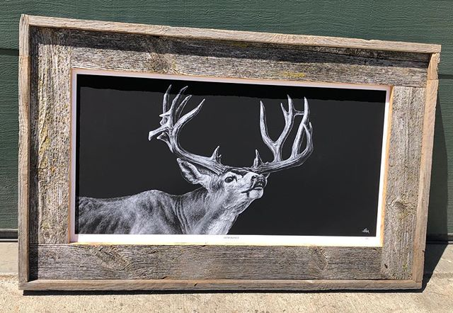 """Finished framing my @joelpilch """"Dominance"""" print!  He is an amazing artist and if you have not already, go follow him!! #switchbackoutdoors #muledeer"""