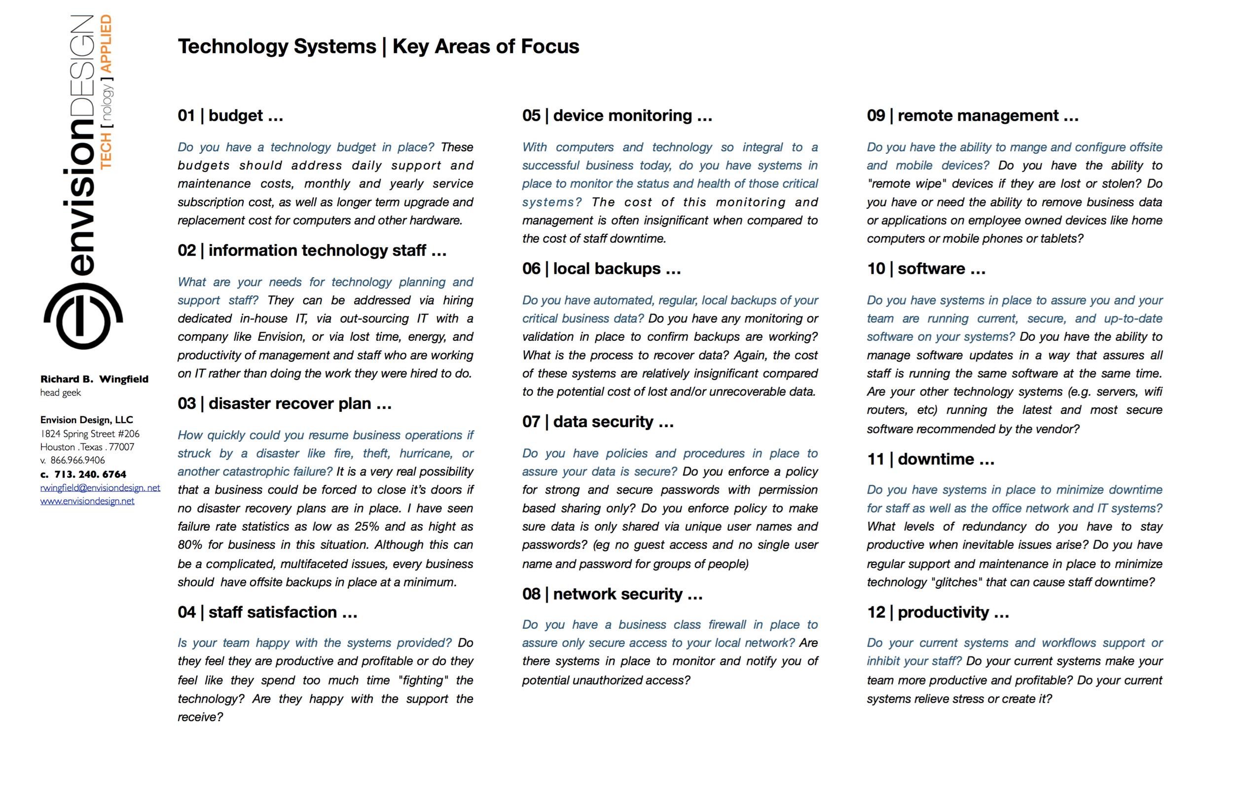 IT key areas of focus