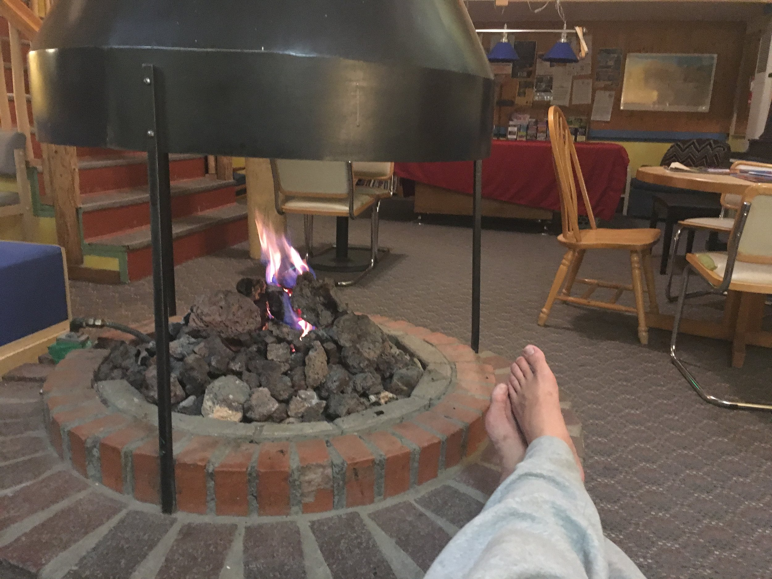 Hostel with a fireplace.  Maybe I'll stay an extra day or two.