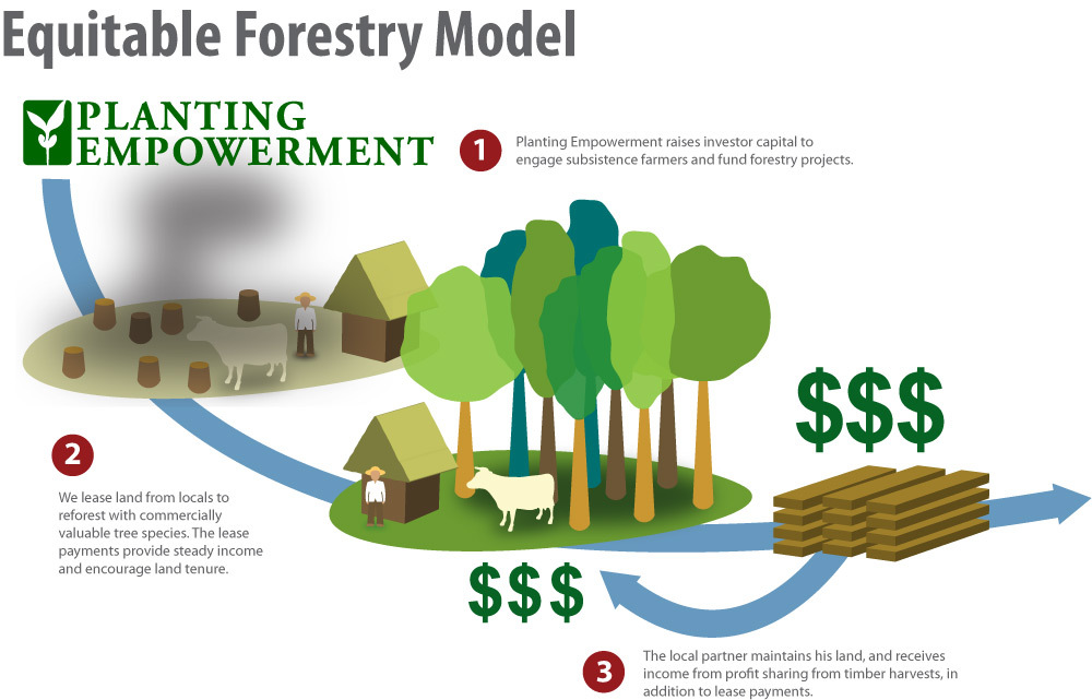 Our Equitable Forestry model integrates the community in a sustainable way