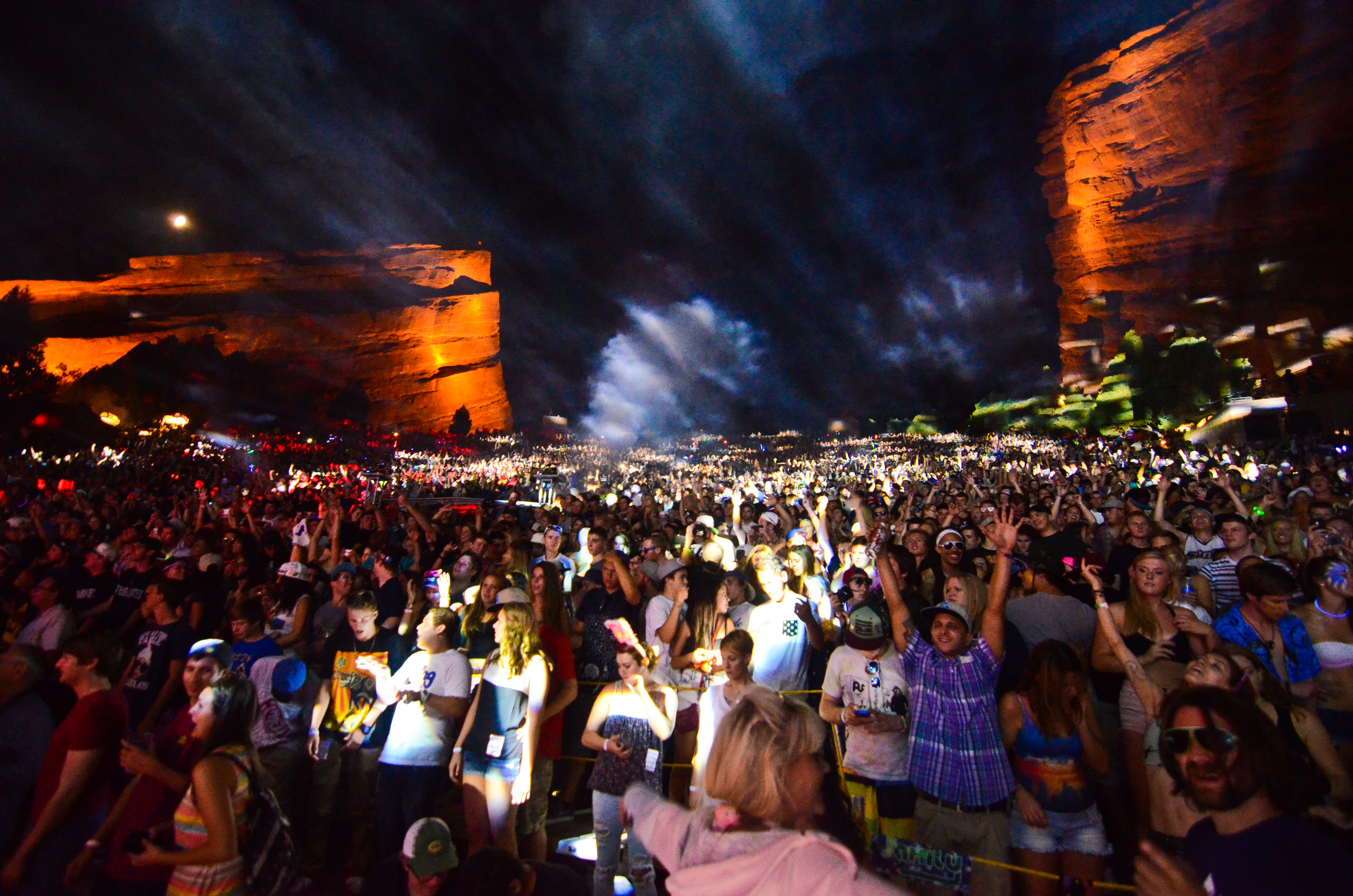 A sold out Red Rocks raging to Pretty Lights (Photo Credit: David Iwane)
