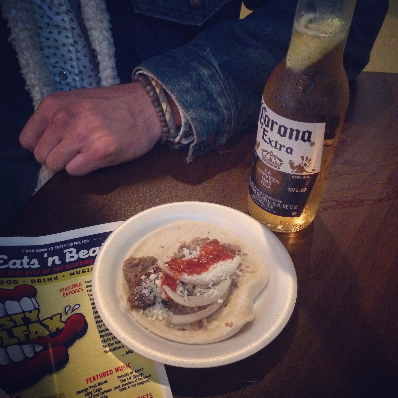 Tacos and Coronas at Odelay's rooftop bar