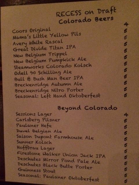 Recess Bar's Beer Menu