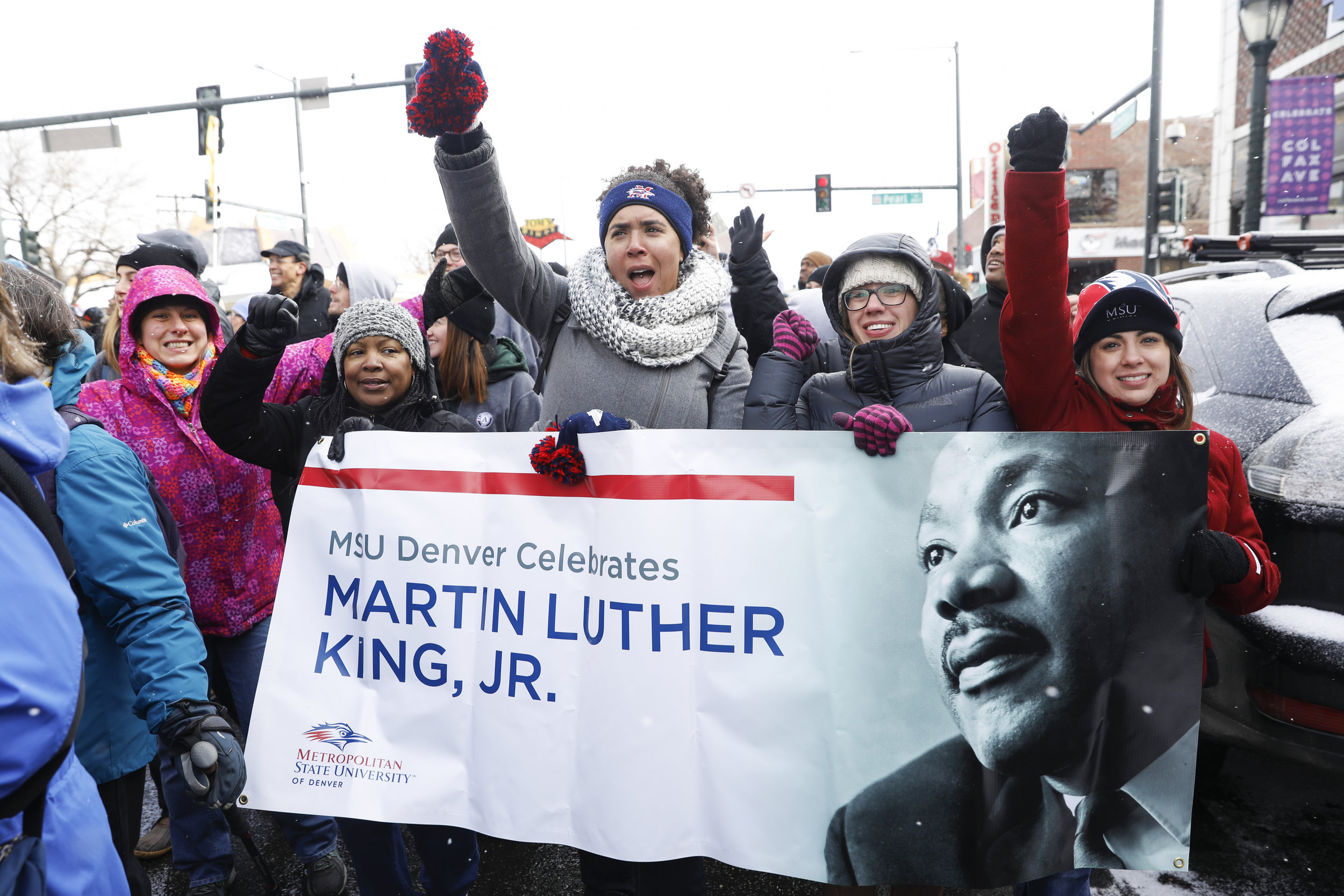 Students from MSU marched along to celebrate MLK Day in Denver. (Photo Credit: Aly McClaran)
