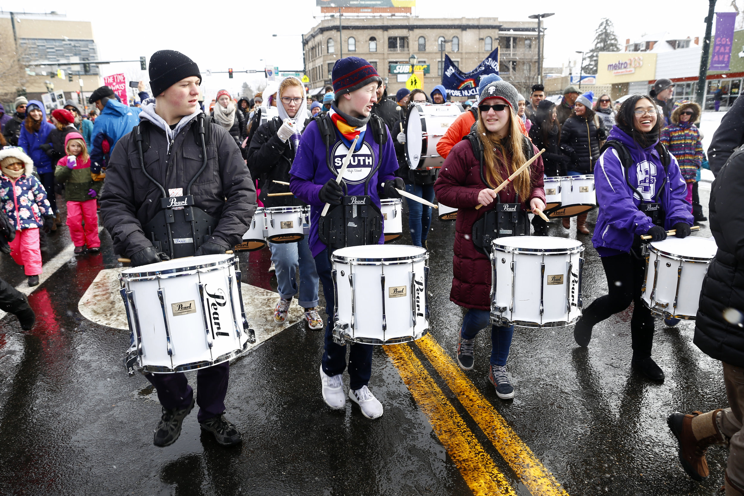 The morning was filled with drumlins from local Denver students. (Photo Credit: Aly McClaran)