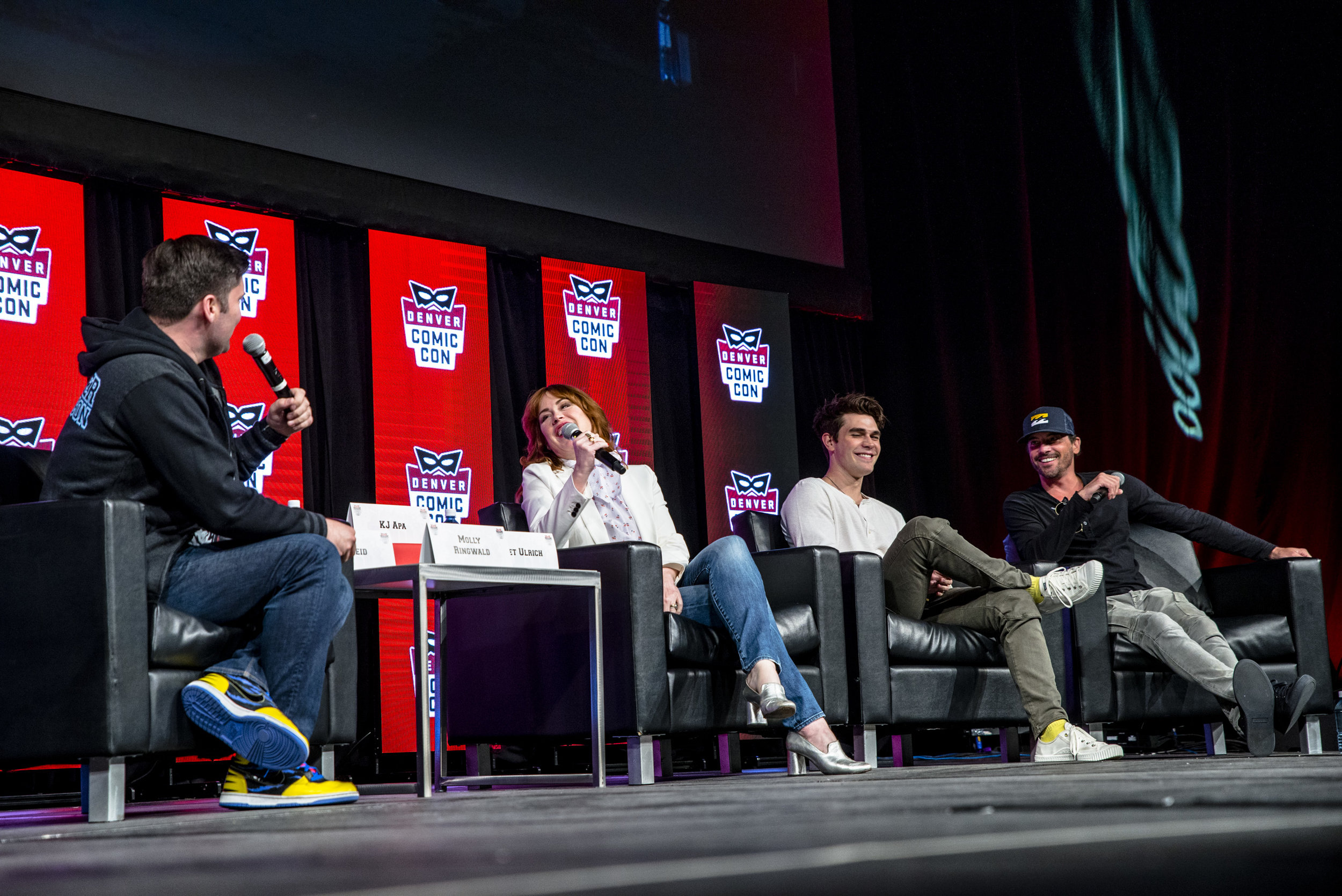 The Riverdale panel with KJ Apa, Skeet Ulrich and Molly Ringwald. (Photo: Austin Voldseth)