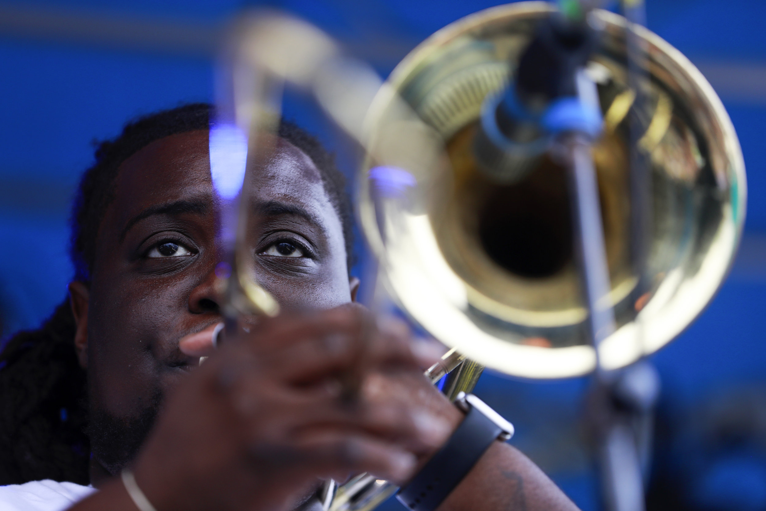 The Hot 8 Brass Band from New Orleans performs at Sesh Stage presented by Two Parts on July 28 at the 18th annual Underground Music Showcase in Denver. Photo by Alyson McClaran