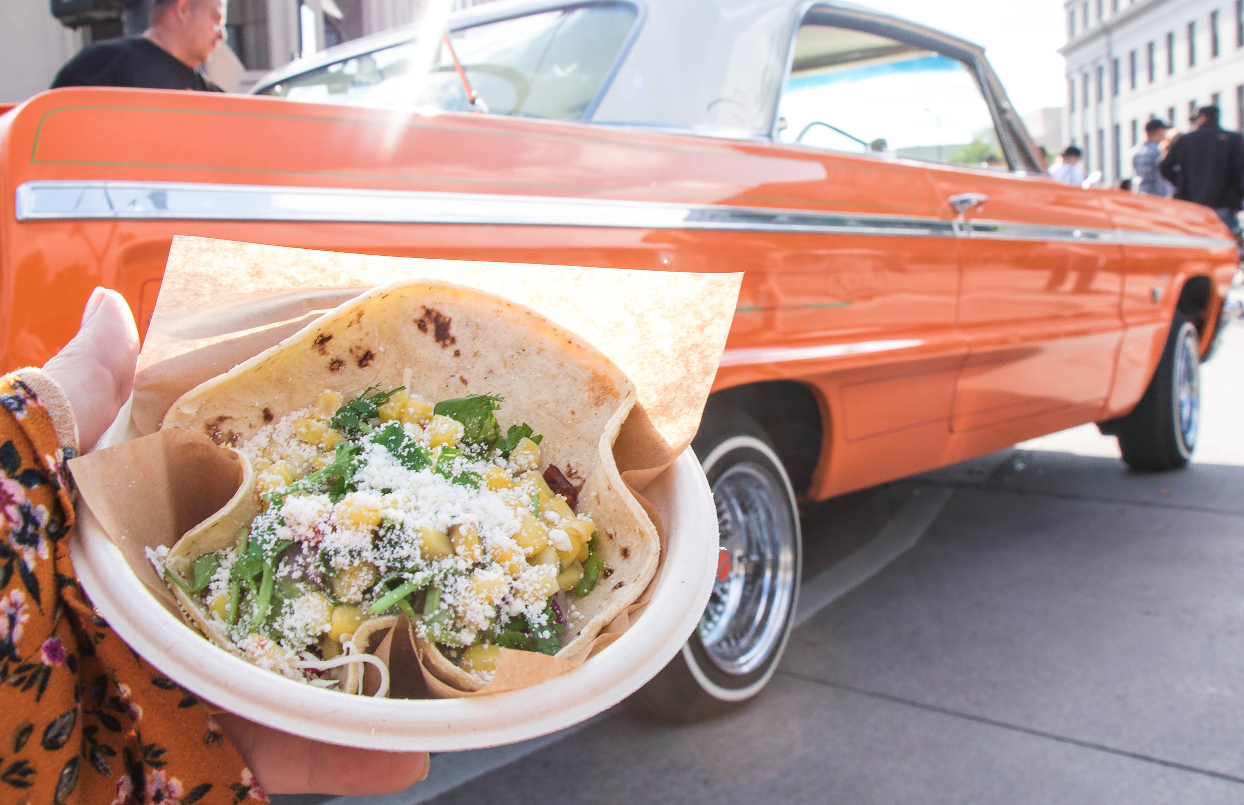 Tacos and lowriders. (Photo Credit: Samantha Bliss)