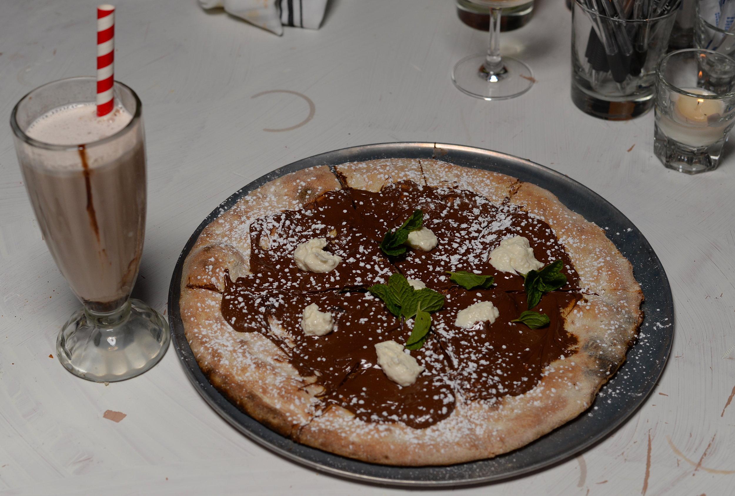 Brooklyn egg cream soda and Nutella pizza