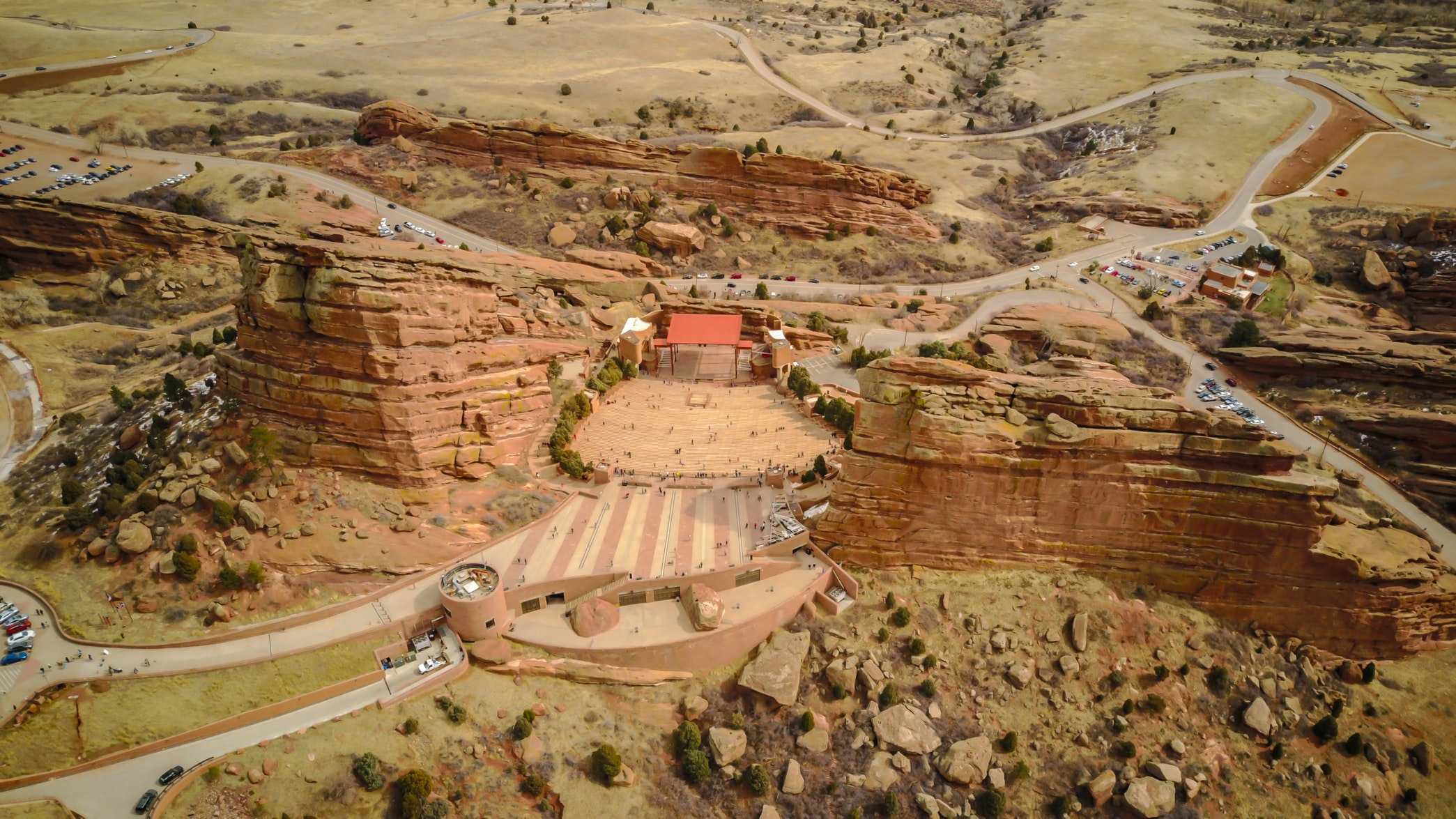 Aerial view of Red Rocks Amphitheatre  Photo by Alex Mertz
