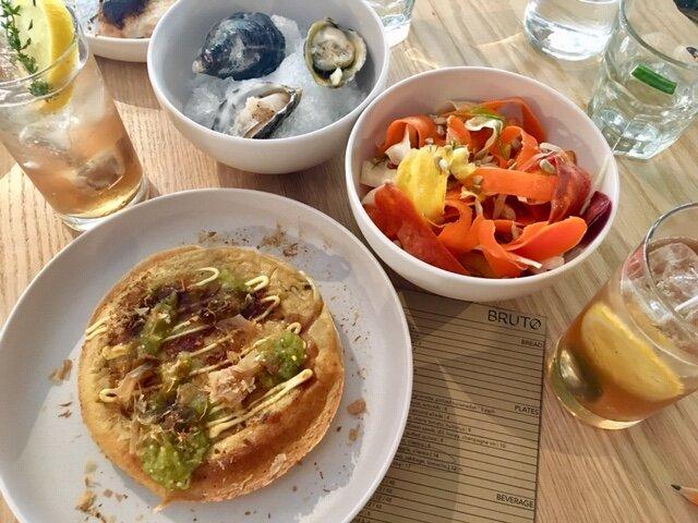West Coast Oysters, Carrot & Fennel Salad, Sobrasada with Wildflower soda