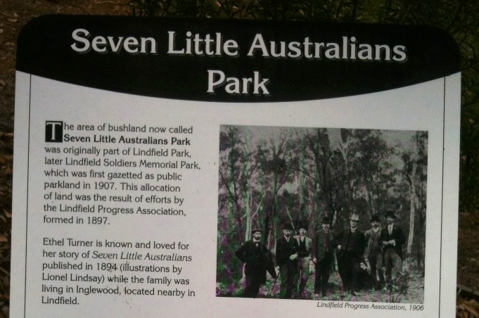 The plaque at Seven Little Australians Park at Lindfield to commemorate the book by Ethel Turner.