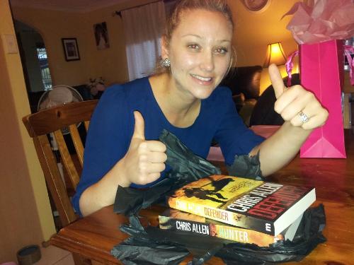 Hannan opens her action thriller novels Defender and Hunter.