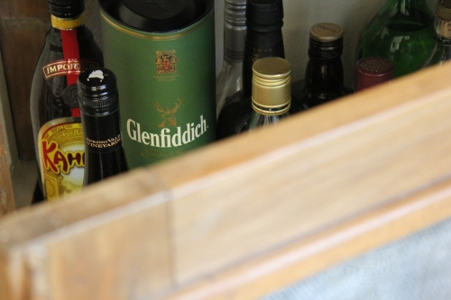 A stolen glance into one of our special spots in the house, the infamous 'hooch cabinet' - it's an old meat safe!