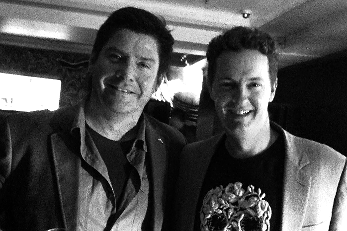 Chris Allen thriller writer with Sci fi author Matthew Reilly
