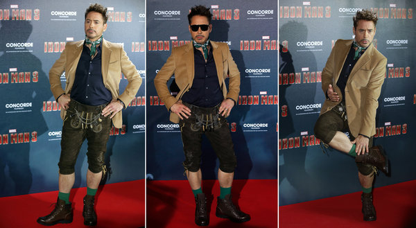 Iron Man Robert Downey Jnr in Lederhosen at one of the film premiere red carpets
