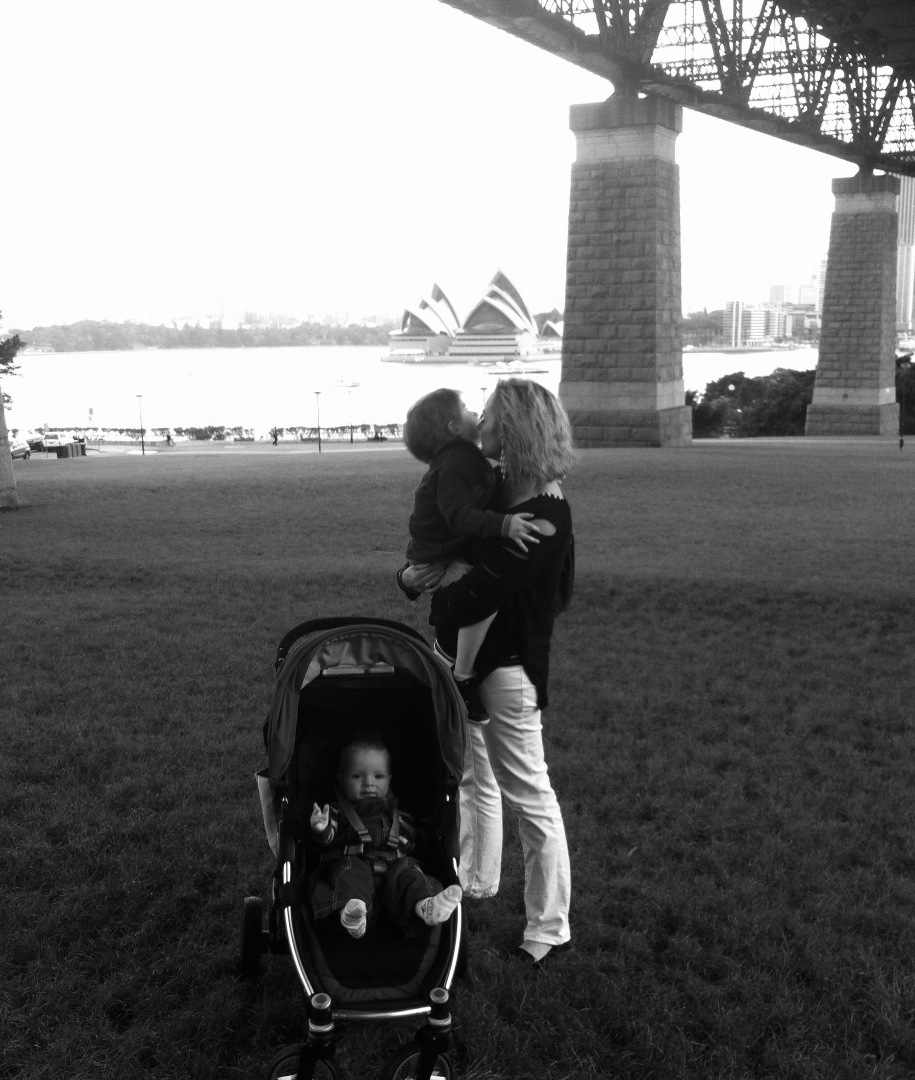 My Sar and our boys under Sydney Harbour Bridge at Kirribilli.