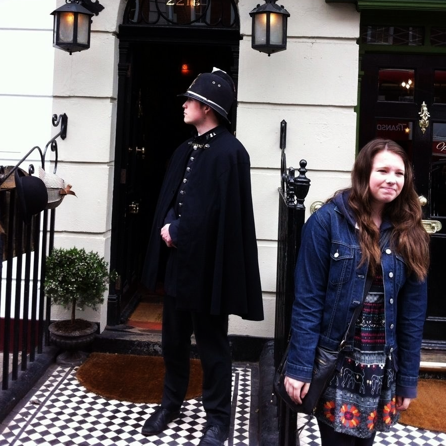 A bobby outside the Sherlock museum. Gotta keep watch!