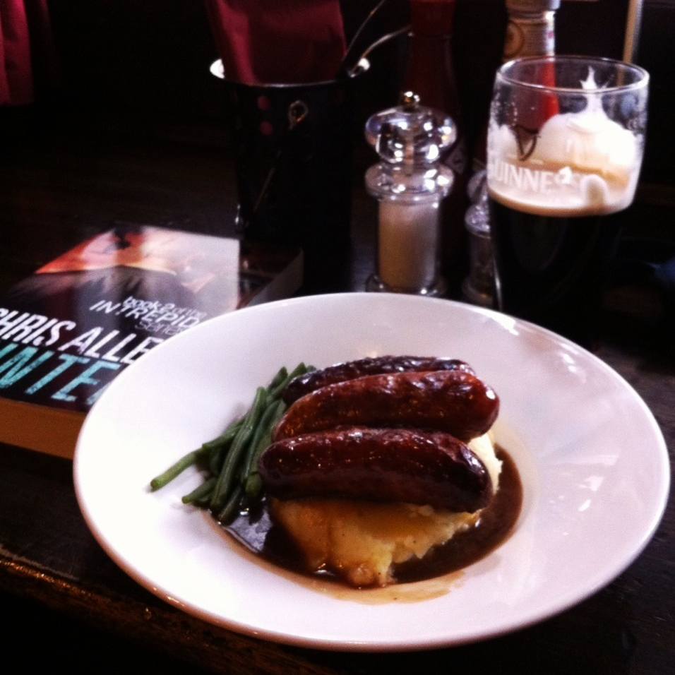 Can never go past a plate of bangers & mash at  The Red Lion , and a pint of Guiness too!