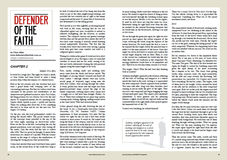 Extract of Defender from Contact Magazine, 2011