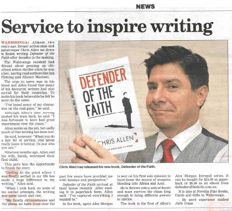 Chris Allen thriller writer interviewed in the Hornsby and North Shore Advocate