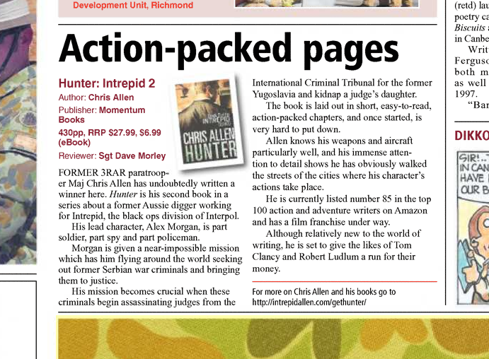 Review of Hunter in the Australian Army newspaper, 2013.