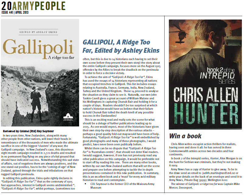 New Zealand Army News competition to give away a copy of Hunter by bestselling thriller writer Chris Allen.