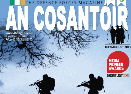 An Cosantoir Magazine for the Irish Defence Forces which reviews Defender and Hunter by Chris Allen.