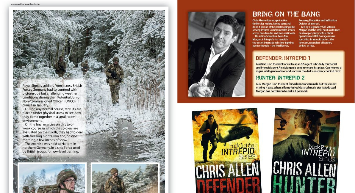 Full page on Hunter, Defender and Chris Allen in CONTACT and Combat Camera Magazines.