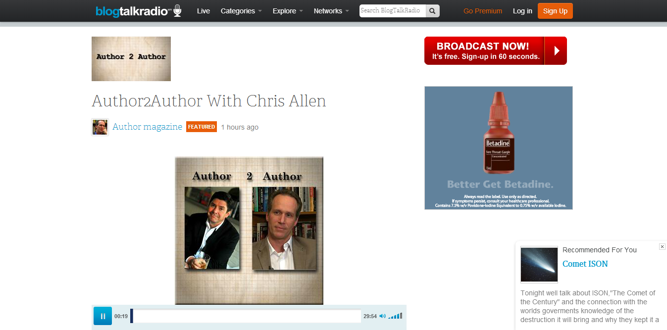 Thriller writer Chris Allen and Bill Kenower talk writing and publishing books on Author2Author podcast.