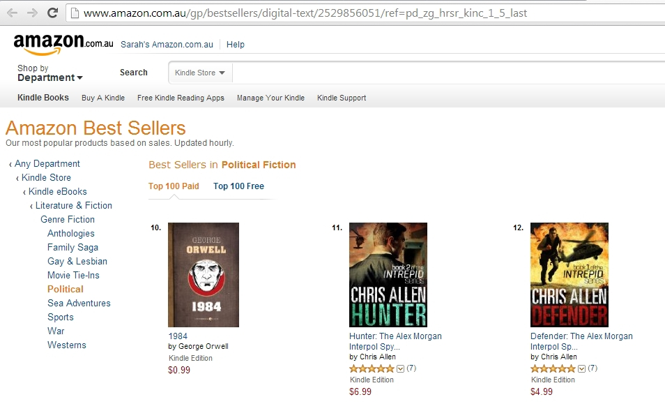 Defender and Hunter top 20 Political Fiction best-seller list