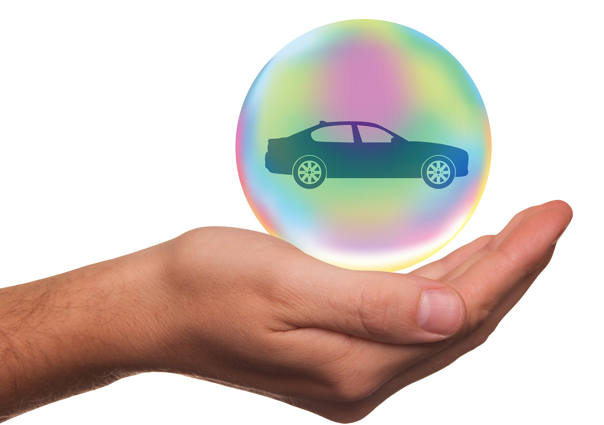 Auto insurance in Colorado Springs with hand covering car in bubble. Protect your car!