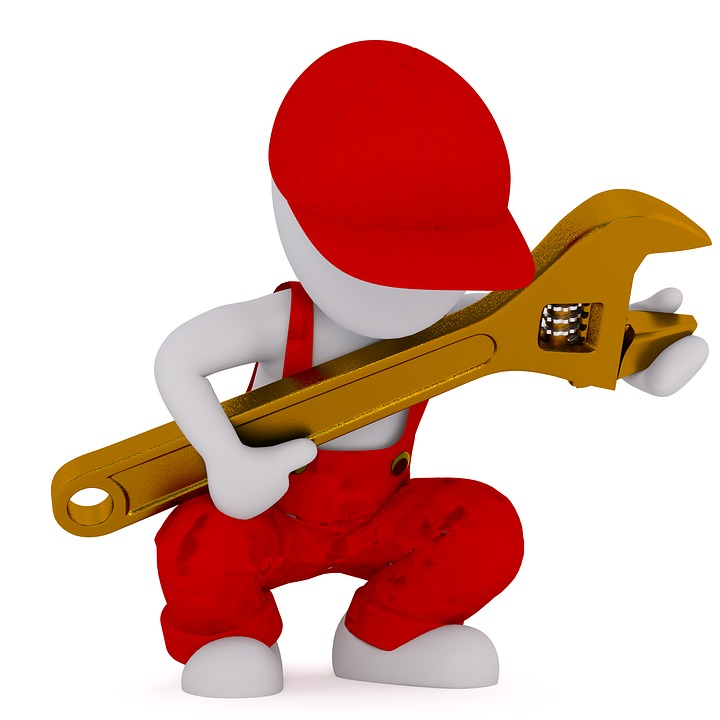 Plumber with a Wrench wearing Red