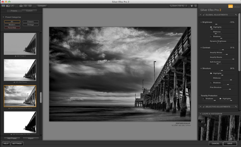 Newport Pier in Silver Efex Pro 2