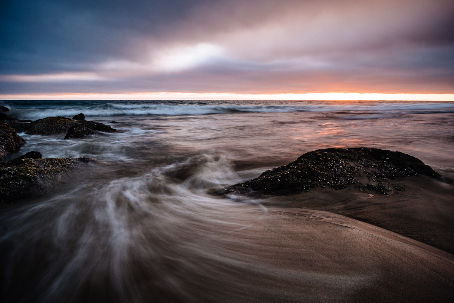Newport Beach Sunset. Shot from a low perspective on a tripod using the LCD display.