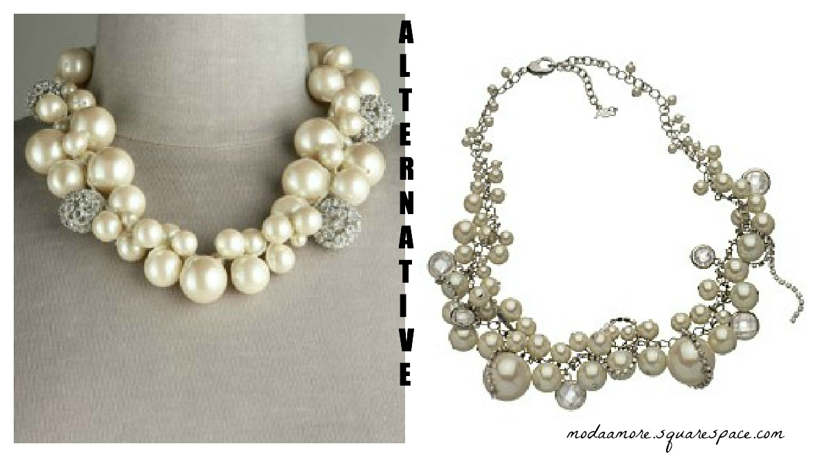 Glass-Pearl Cluster Necklace $285- ABS Pearl Cluster Necklace $95