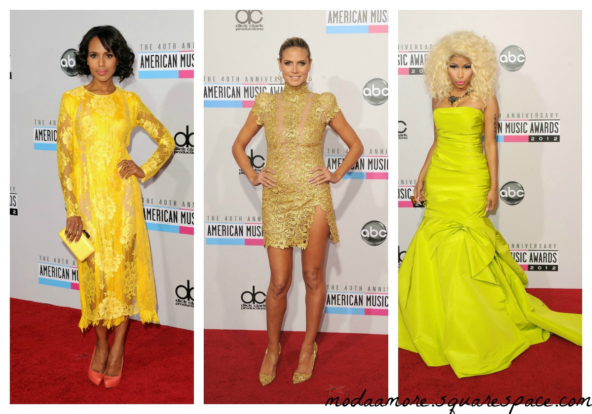 Kerry Washington in Stella McCartney. Heidi Klum in Alexandre Vauthier Couture.Nicki Minaj in Monique Lhuillier