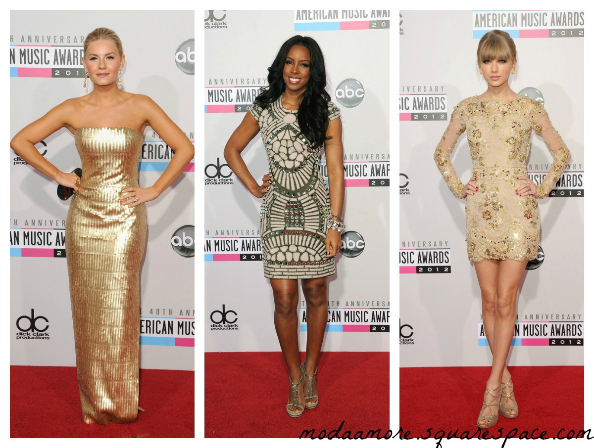 Elisha Cuthbert in Georges Chakra.Kelly Rowland in Naeem Khan.Taylor Swift in Zuhair Murad