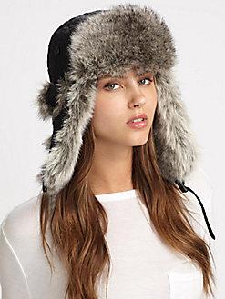 Faux Rabbit Trapper Hat $75.00  Saks.com